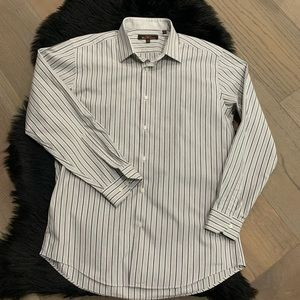 Ben Sherman Gray White Striped Dress Shirt Sz 16